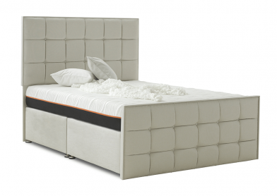 Loire Divan Bed, Super King, 2+2 Drawers, White Sand