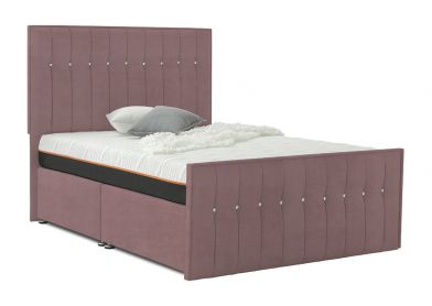 Revive Divan Bed, Double, 2 Drawers, Velvet Blush