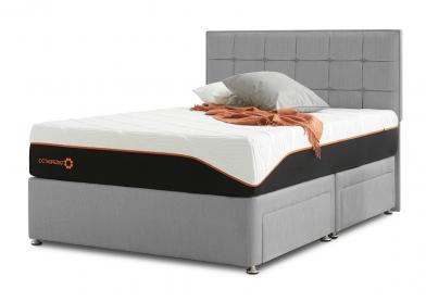 Tiffany Divan Bed, Double, Cayenne Grey
