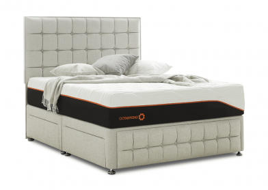 Venice Divan Bed & Headboard, Double, 4 Drawers, White Sand