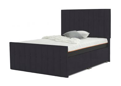 Vibrance Divan Bed, Double, 2 Drawers, Velvet Steel