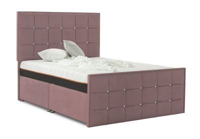 Burgundy Divan Bed, Double, 2 Drawers, Velvet Blush