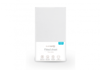 Evercomfy Fitted Sheet Pure White, Double