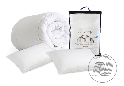 Evercomfy Silver Bedding Bundle, Super King