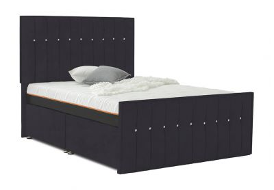 Revive Divan Bed, Double, 2 Drawers, Velvet Steel