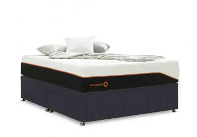 Roma Divan Bed, Double, 2 Drawers, Velvet Steel