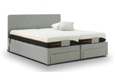 Sorrento Adjustable Bed, Single, Silver Mist, End Drawers