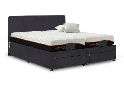 Sorrento Adjustable Bed, Single, Velvet Steel, End Drawers