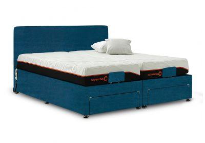 Sorrento Adjustable Bed, Single, Velvet Teal, End Drawers