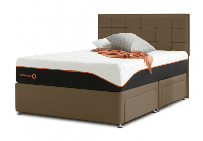 Tiffany Divan Bed, Double, 2 Drawers, Chocolate Brown