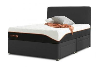 Tiffany Palermo Divan Bed & Headboard, Single, Midnight Black