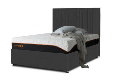 Tiffany Starlight Divan Bed & Headboard, Double, 2 Drawers, Midnight Black