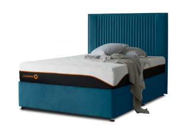 Tiffany Starlight Divan Bed & Headboard, King, 2 Drawers, Velvet Teal
