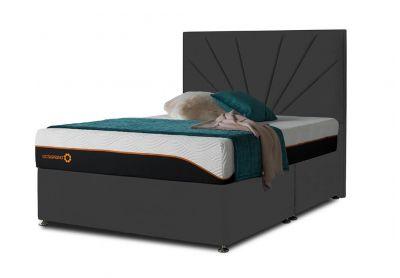 Tiffany Sunrise Divan Bed & Headboard, Super King, 4 Drawers, Midnight Black