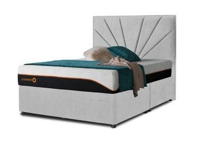 Tiffany Sunrise Divan Bed & Headboard, Double, 2 Drawers, Silver Mist