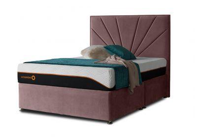 Tiffany Sunrise Divan Bed & Headboard, King, 4 Drawers, Velvet Blush