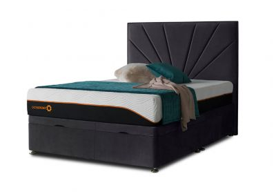 Tiffany Sunrise Divan Bed & Headboard, Double, Ottoman (End-Opening), Velvet Steel