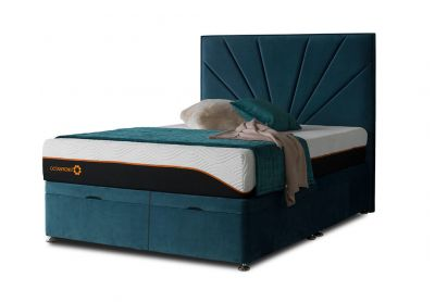 Tiffany Sunrise Divan Bed & Headboard, King, Ottoman (End-Opening), Velvet Teal