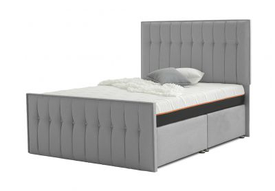 Vibrance Divan Bed, Double, 2 Drawers, Silver Mist
