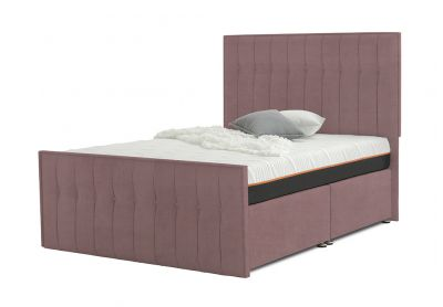 Vibrance Divan Bed, Double, 2 Drawers, Velvet Blush