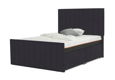 Vibrance Divan Bed, Double, 2 Drawers, Velvet Steel
