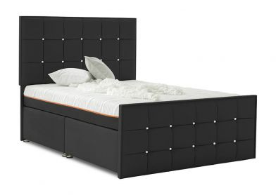 Burgundy Divan Bed, Double, 2 Drawers, Midnight Black