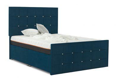 Burgundy Divan Bed, Double, 2 Drawers, Velvet Teal