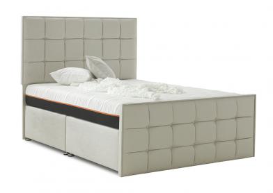 Loire Divan Bed, Super King, 2+2 Drawers, White Sand