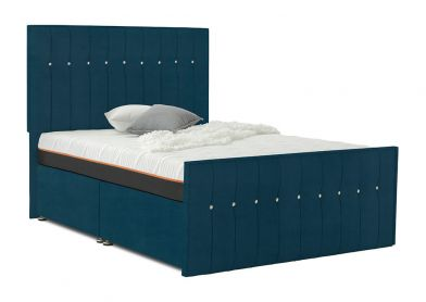 Revive Divan Bed, Double, 2 Drawers, Velvet Teal