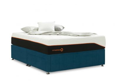 Roma Divan Bed, Double, 2 Drawers, Velvet Teal