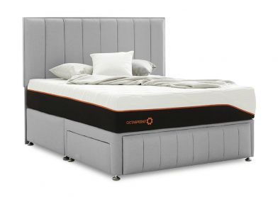 Roma Divan Bed & Headboard, Single, Silver Mist