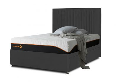 Tiffany Starlight Divan Bed & Headboard, Double, 2 Drawers, Midnight Black