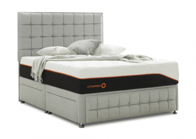 Venice Divan Bed & Headboard, Super King, 2+2 Drawers, Silver Mist