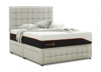 Venice Divan Bed & Headboard, Super King, 4 Drawers, White Sand